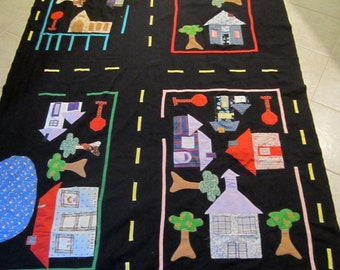 Large appliqued town vintage play cloth of a city for hours of fun to drive around those hot wheel cars 53 x 83 inches of detail