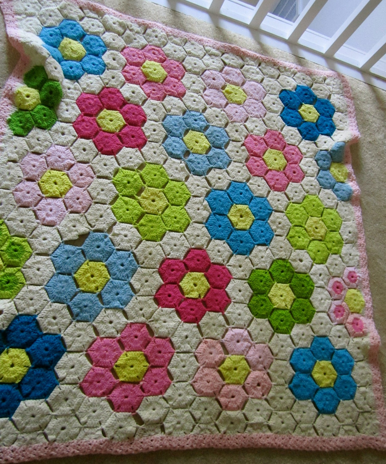 Vintage Hexagon Shaped Crocheted Baby blanket pink bright