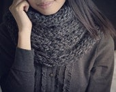 Reserved for Jennifer Mitchell / Finger-Made (Charcoal) Wool Infinity Scarf Special Gift