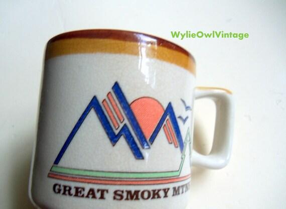 Vintage Great Smoky Mountains Coffee Mug 1970s