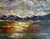 Abstract Landscape, is real, affordable one of a kind acrylic painting on masonite.