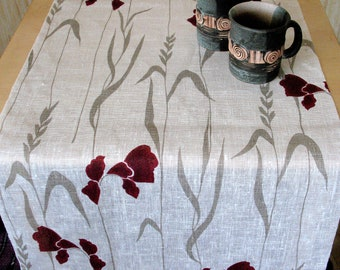 "Linen Table Runner Tablecloth Natural White Gray with Red Burgundy Iris Flowers  50"" x 18.5"""