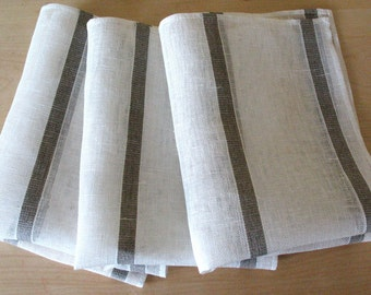 "Linen Napkin Natural White Gray set of 8 - Flax 17.7"" x17.7"" size"