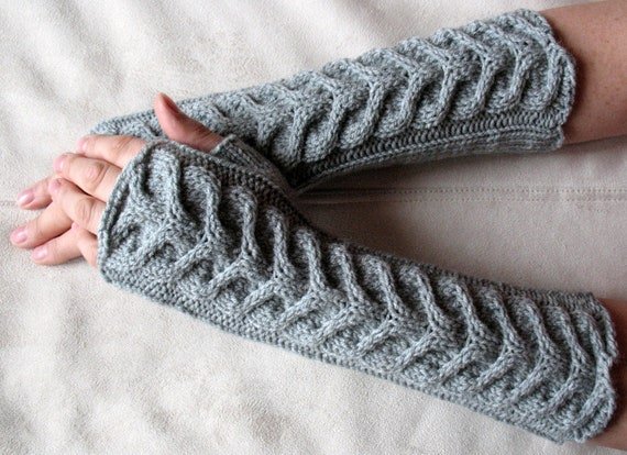"Fingerless Gloves Long Gray 11"" Mittens Arm Warmers, Acrylic Wool"