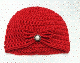 Red butterfly hat / flapper hat / newborn / Christmas hat