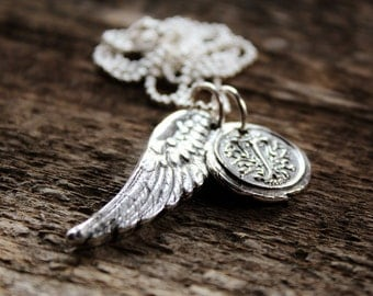Personalized Fine Silver Angel Wing and Wax Seal Initial Charms
