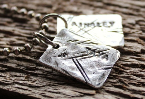 Personalized Mens Fine Silver Necklace Trashed  Dog Tags Rustic Hand Stamped Name Necklace