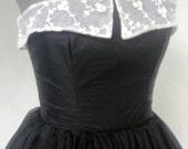 Simply Beautiful 50s Cocktail Dress In Black Chiffon Lace Collar Custom