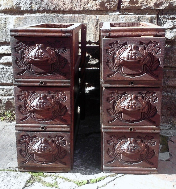 RESERVED FOR KRISTEN Antique Sewing Machine Triple Drawers with Original Ornate Hardware