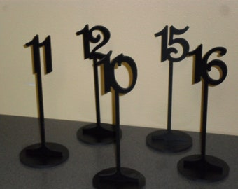 """Table Numbers 10 1/4"""" Tall with base 1-15 Black PVC"""