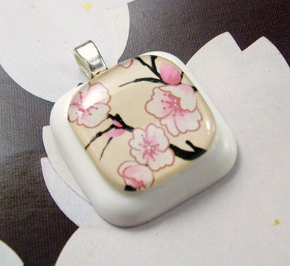 Pink Blossoms Resin Pendant