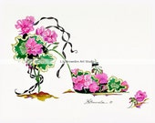 Shoe Print SHIPS FREE  - Pink Geranium Flower Shoe - Enhanced with Watercolor Paint and signed