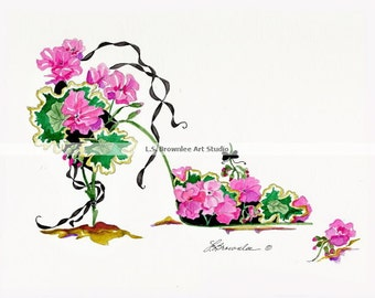 Pink Geranium Flower Shoe - Enhanced with Watercolor Paint and signed. Ships Free