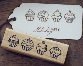 Lovely Cupcake Rubber Stamp