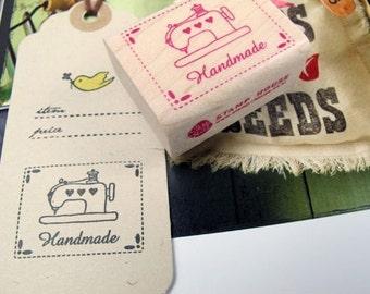 Handmade Label Pink Sewing Machine Stitch Line Rubber Stamp