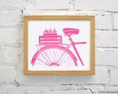 SALE - Pink Bikes and Beer Print