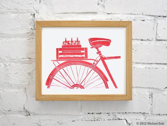 Bike Art and Beer Red Linocut Block Relief Print - Beer Bicycle Commuter Messenger Microbrew Printmaking