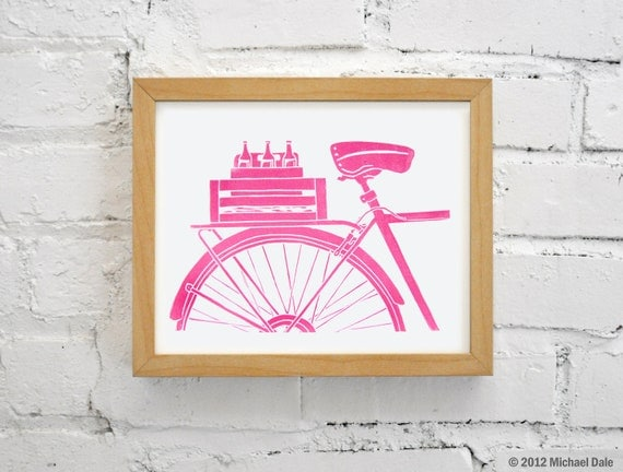 SALE - Pink Bikes and Beer Print