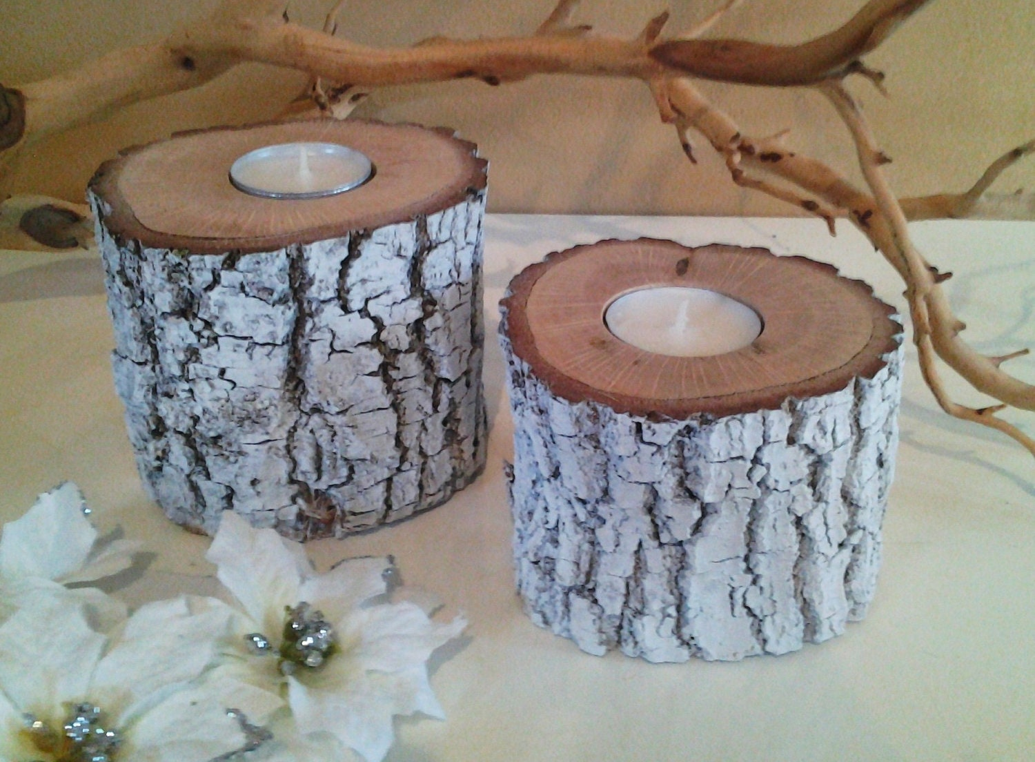 Treasury item white painted oak tree trunk by jtlcreations - White painted tree trunks ...