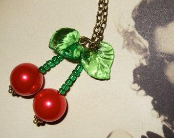 Cherry Necklace, Rockabilly Jewelry, Cherry Bomb, Pin Up Style, Beaded Cherries, Rockabilly Style, Red Cherry Jewelry, Kitsch Necklace,