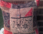 Floral Patchwork Look Throw Pillow Cover 14 X 14 Upcycled Decorative Toss, Scatter Pillow