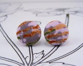 Red & Purple 80s Rocker Fabric Button Earrings
