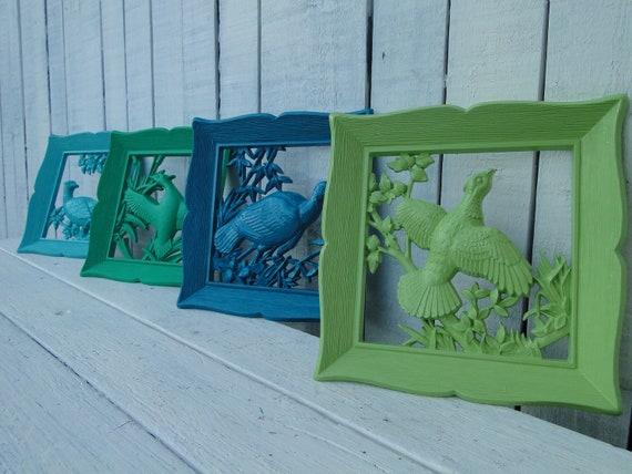 "Updated Vintage Wall Decor bird plaques teal turquoise green jade ""Laguna Birds"""