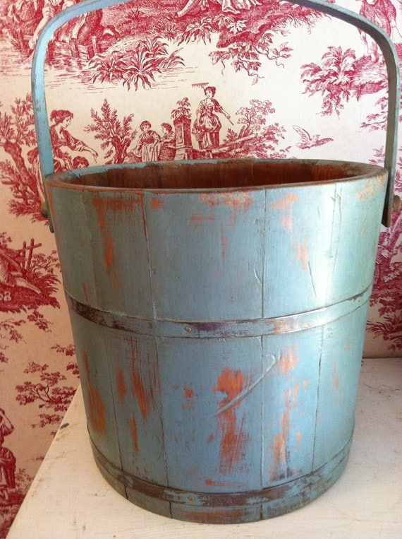 Wooden Bucket with Handle Painted with Annie Sloans Chalk Paint Made by Basketville Putney, Vermont
