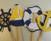 NAVY YELLOW Nautical Cupcake Toppers Boat, Anchor, Helm, Life Preserver
