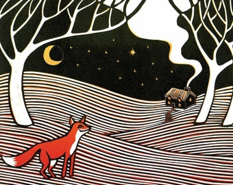 Fox in the Night - Christmas Card from an original linocut print
