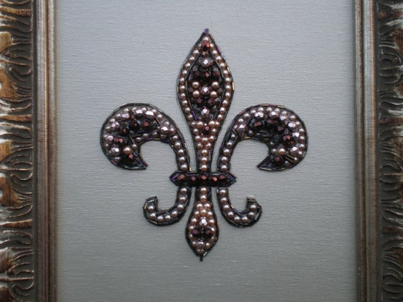 Beaded Fleur De Lis Art/Beaded Art/Fleur De Lis Decor/Mosaic Art/Repurposed Art/One Of A Kind/Jeweled Art