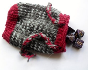 Knitted grey and red pouch / dice bag