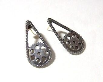 SALE Biker Chick Silver /14k Gold earrings, Motorcycle Gear, Earrings Was 85 USD / Chain Sprocket Artist Made, Artisan, OOAK Vintage