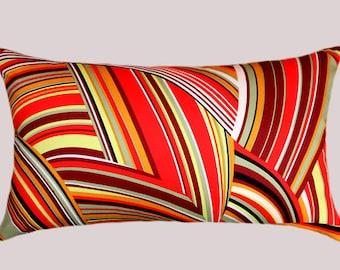"""Multicolored Cotton Designer fabric Lumbar pillow case, fits 12""""x20"""" insert."""