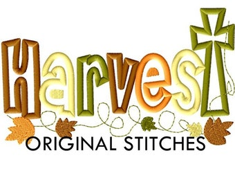 Harvest Cross Fall Thanksgiving Applique and Embroidery Digital Design File 5x7 6x10