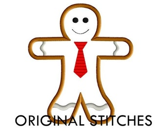 Gingerbread Man Applique and Machine Embroidery Digital Design File 4x4 5x7 6x10