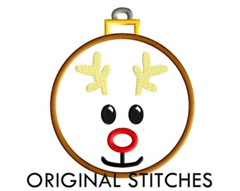 Reindeer Applique and Machine Embroidery Digital Design File 4x4 5x7 6x10