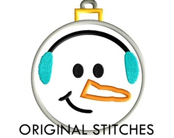 Snowman Christmas Applique and Embroidery Digital Design File 4x4 5x7 6x10