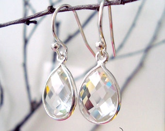 Crystal Clear Quartz Tear Drop Earrings Sterling Silver Bridesmaids Earrings