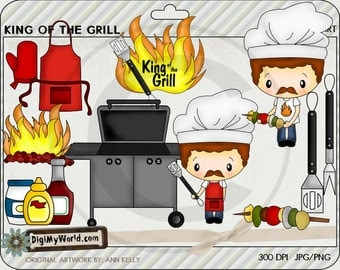King of the Gril, BBQ, summer, condiments, kabob colored clip art,  for card making and scrapbooking