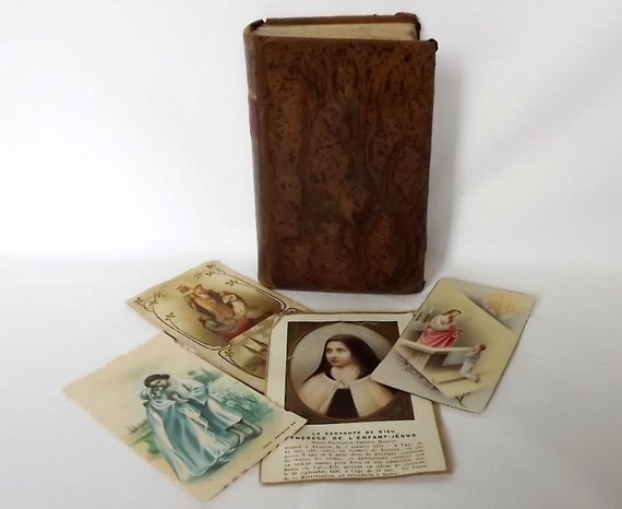 RESERVED for Kristin - Leatherbound devotional book from France, 1884 - religious book