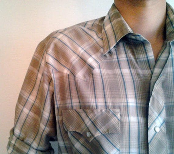 Vintage M-L Mens Pearl Snap Plaid Western Shirt