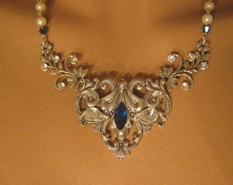 Sapphire blue bridal necklace bridal accessories statement necklace bridal jewelry Victorian necklace Victorian jewelry pearl necklace