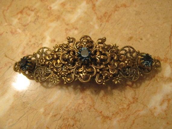SAPPHIRE Rhinestone Hair barrette antiqued brass Filigree Flower vintage inspired round blue Swarovski Rhinestone Wedding Bridal Bridesmaid