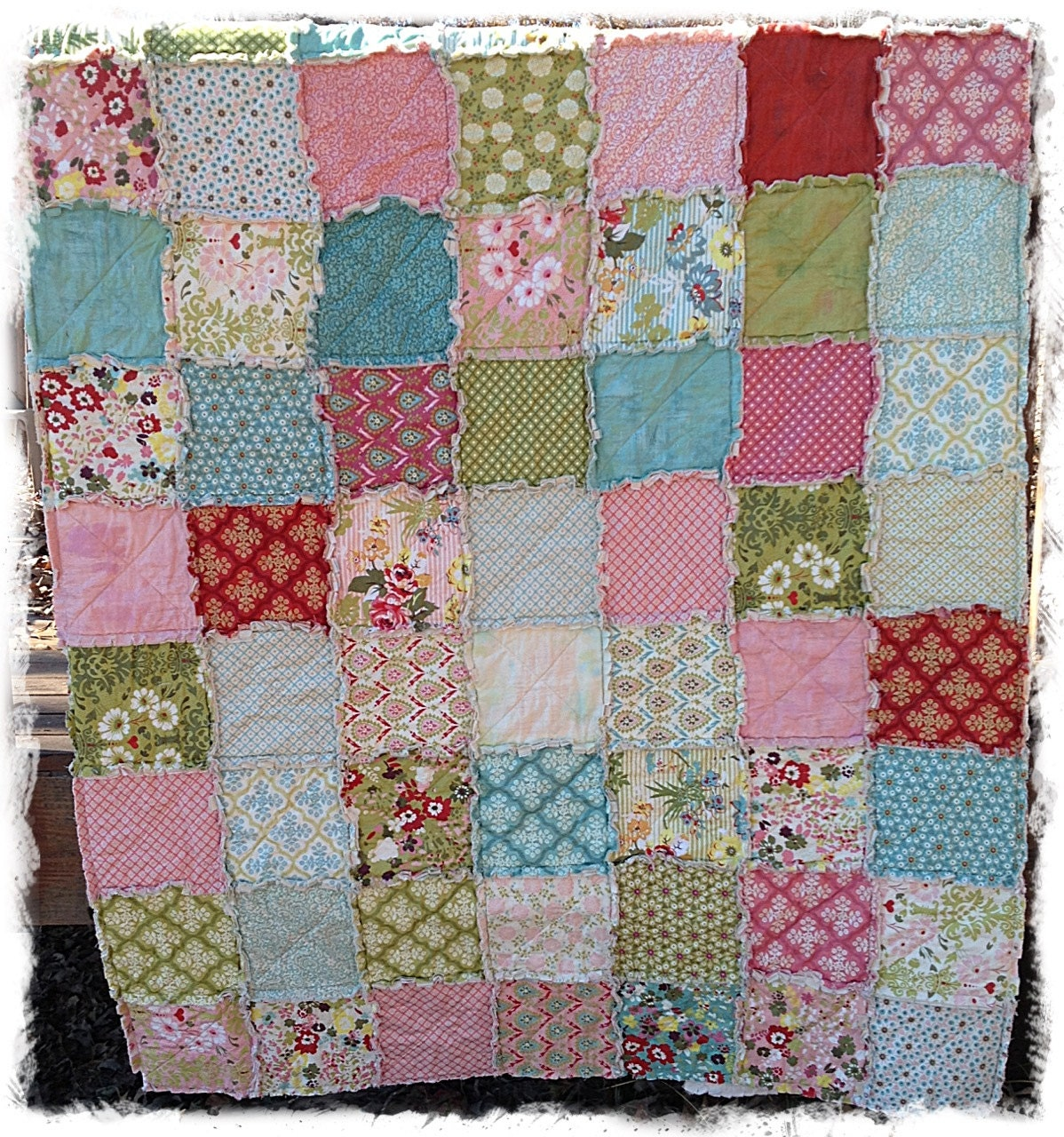 Rag Quilt Twin Size Hello Luscious Made to Order by DelilahKaye