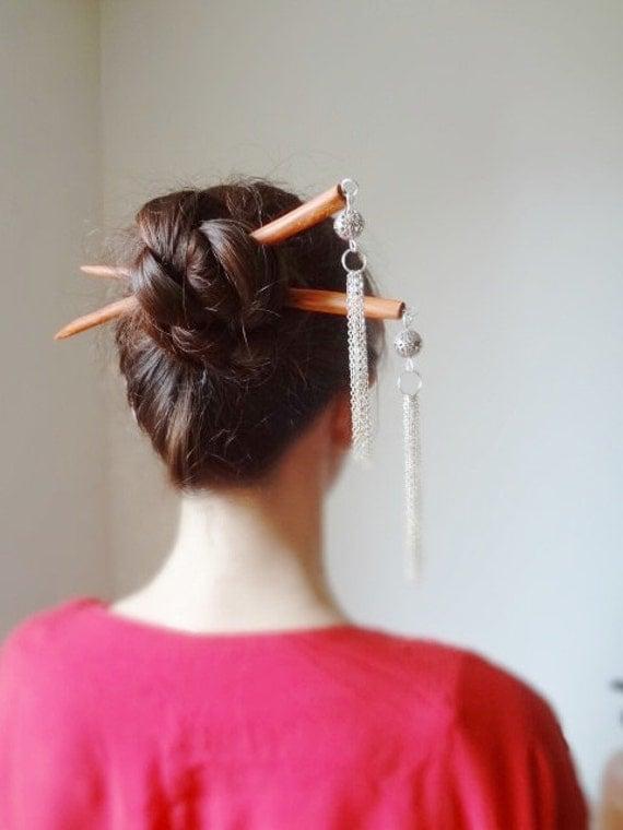 Red Chinese princess geisha kanzashi style double  hair sticks