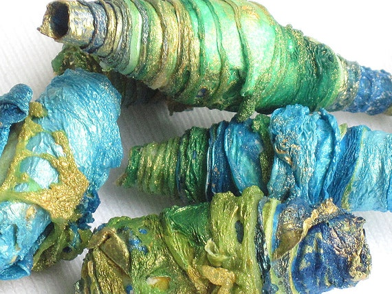 8 mixed media textile art beads hand made with Tyvek - SUMMER SEASIDE - emerald green aqua lime yellow turquoise sea blue dark blue gold
