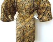 Vintage BROWN BLACK PRINTED Robe Polyester Jacket 80s 90s Women's Mens