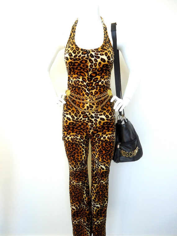 Items Similar To Vintage LEOPARD CHEETAH PRINT Romper Jumpsuit Pants Backless Costume Fly Girl ...