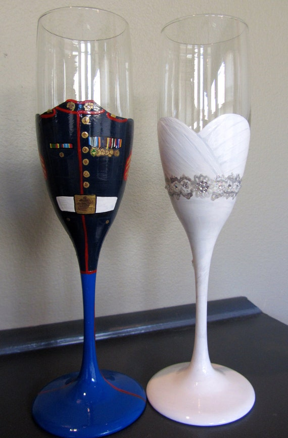 Bride And Groom Military Toasting Flutes By Lgrn22 On Etsy